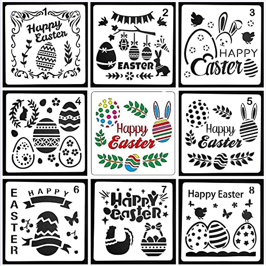 Konsait 16Pack Easter Drawing Stencils Templates Washable Plastic Painting Stencils Easter Decorations Templates Eggs Bunny Stencils for Easter Party Kids Gifts Painting On Wood Cards Window Crafts