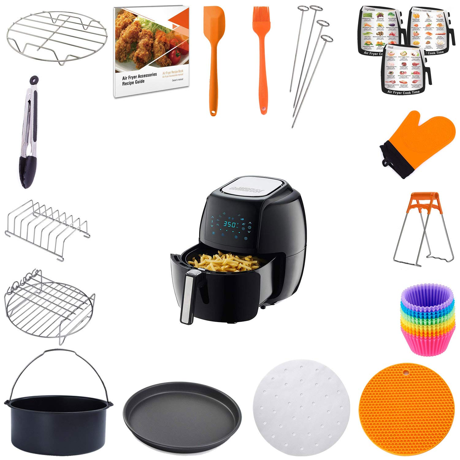 BPA Free Compatible for Philips Gowise Ninja Cozyna Cosori and Power AirFryer Jrickss Air Fryer Accessories 8 Inch 15 PCS FIT for 3.7//4.2//5.3//5.5//5.8 QT FDA Approved Recipe Book| Dishwasher Safe
