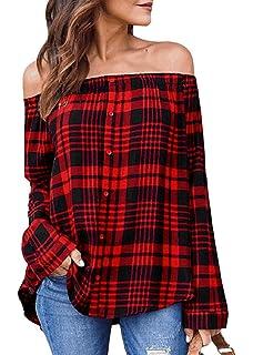 81b1fe65f54c7d Women Cold Off Shoulder Button Down Shirt Plaid Tops Long Sleeve T-Shirt  Blouse