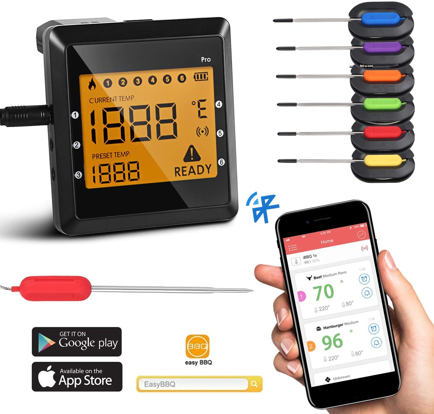 Joyleah Bluetooth Digital Meat Thermometer with 6 Long Probes ...