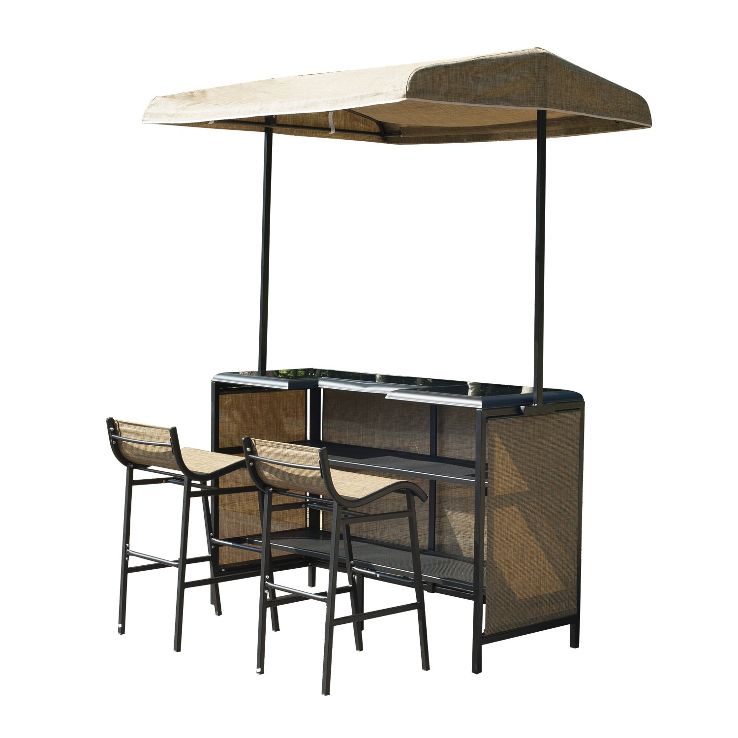 outdoor wicker bistro off set bar table setting
