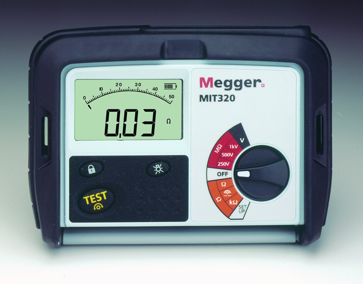 Megger MIT320-ENTCAL Insulation Tester, 1000 M Ohm, Resistance, 250V, 500V, 1000V Test Voltage with a NIST-Traceable Calibration Certificate with Data
