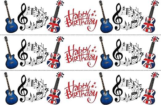 Guitarra acústica, notas musicales de cumpleaños, mezcla ...