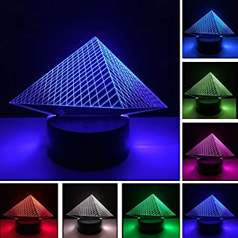 BFMBCHDJ Unique Pyramid 3D USB Led night light 7 colores Changing ...