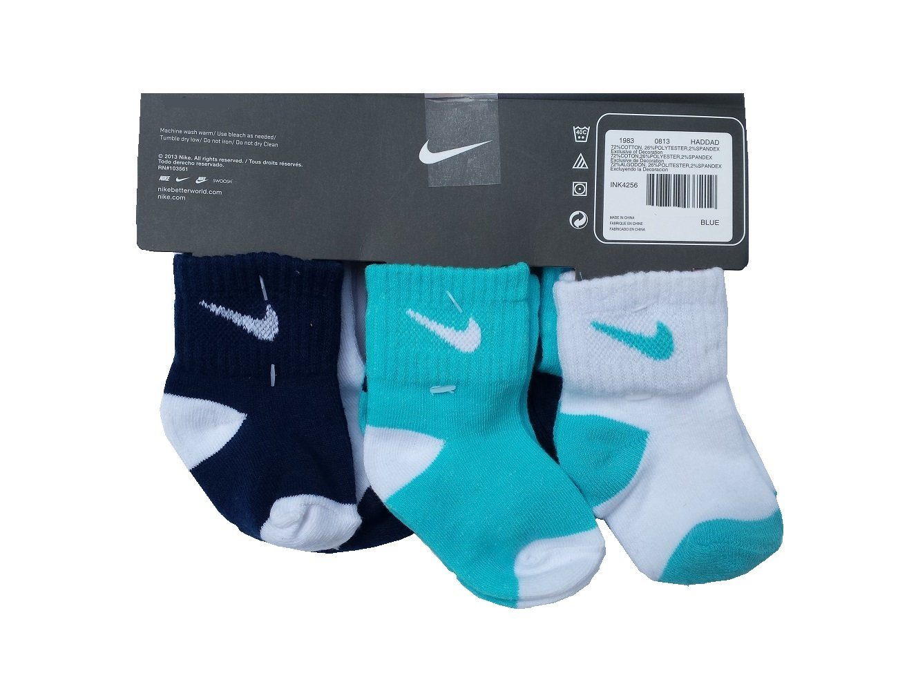 Nike Toddler Boy 6 Pairs/Pack Cotton Socks, 6-12 Months, Navy/Blue/White