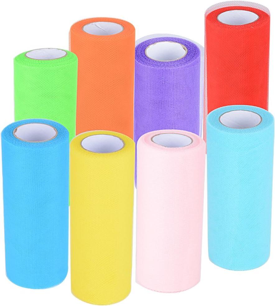 182m 8 Rollos de Tul Tulle Colores Decoración de Boda Falda Fiesta Cumpleaños Ropa Novia Manualidades Diy Azul Rosa Rojo Verde Amarillo Púrpura Naranja (25yardas*15cm*8rollos) 8 Colores