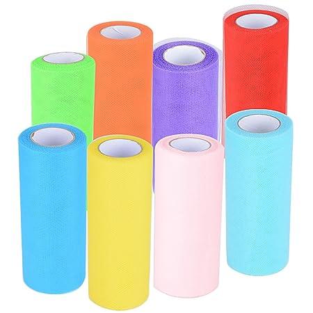 182m 8 Rollos de Tul Tulle Colores Decoración de Boda Falda Fiesta Cumpleaños Ropa Novia Manualidades Diy Azul Rosa Rojo Verde Amarillo Púrpura ...