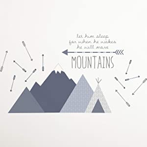 Levtex Baby - Mountain Scene Peel and Stick Large Decals - Grey, Navy, Bue - Let Him Sleep for When He Wakes He Will Move Mountains