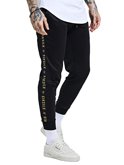 SikSilk Men Sweat Pants Cuffed Tape Black L  Amazon.co.uk  Clothing 2f4457694a471