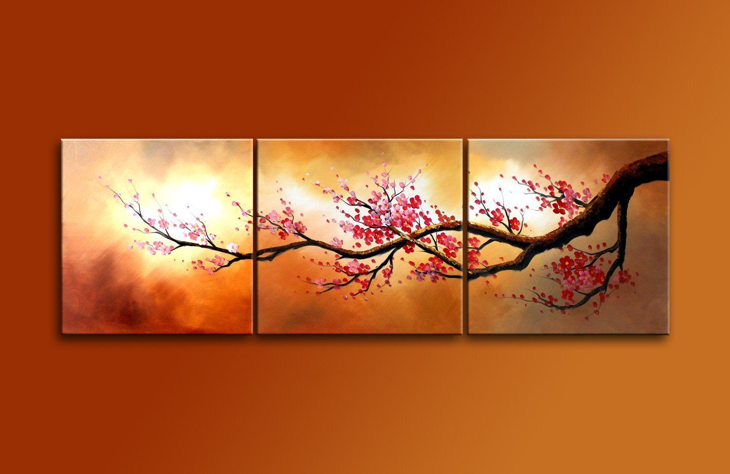 Amazon ode rin art christmas gift hand painted mordern oil hand painted mordern oil paintings blooming red plum flowers tree 3 panels wood inside framed hanging for home and wall decoration kitchen dining amipublicfo Images