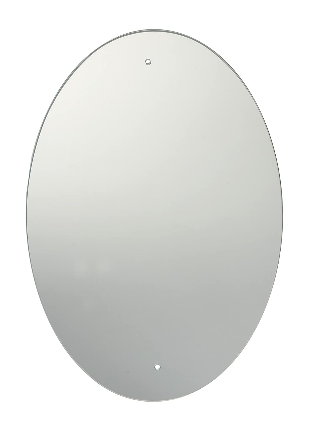 60 x 45cm Oval Bathroom Mirror with Drilled Holes & Chrome Cap Wall Hanging Fixing Kit