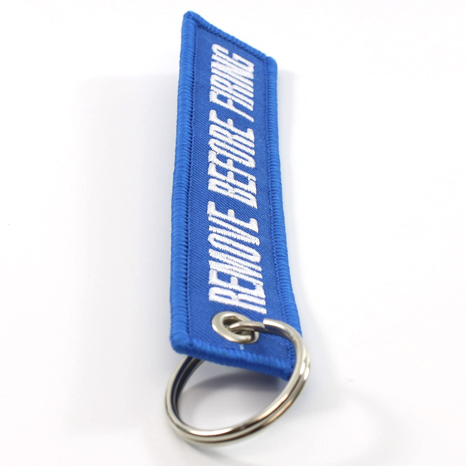 Remove Before Firing Keychain Blue//White by Rotary13B1 RBF1497