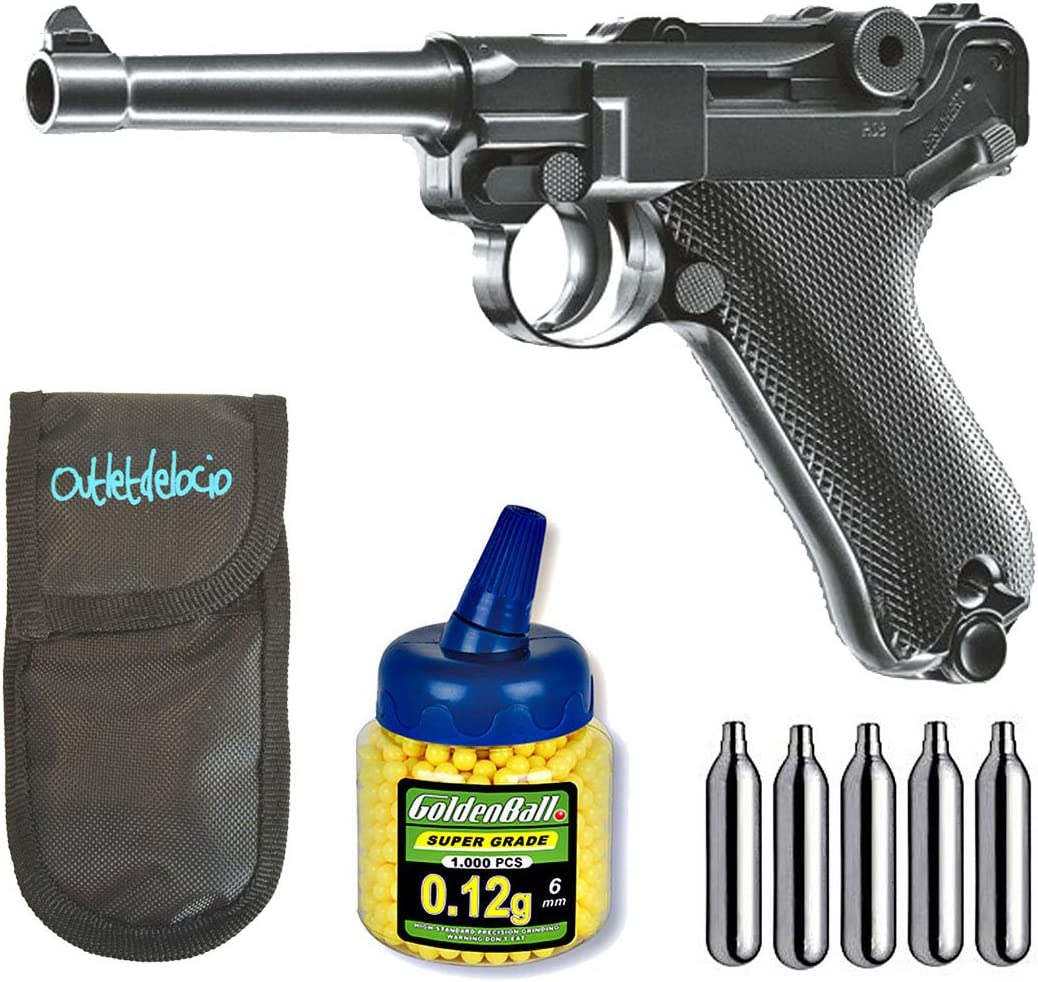 Pack Pistola airsoft Umarex U25874. P08 Legends. Calibre 6mm. + Funda Portabalines + Biberon 1000 bolas + bombonas Co2