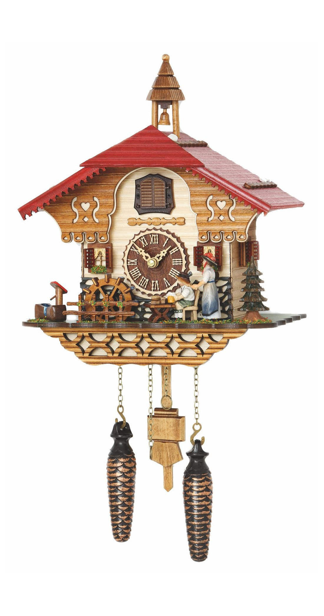 Quartz Cuckoo Clock Black Forest house with moving beer drinker and mill wheel, with music TU 4215 QM