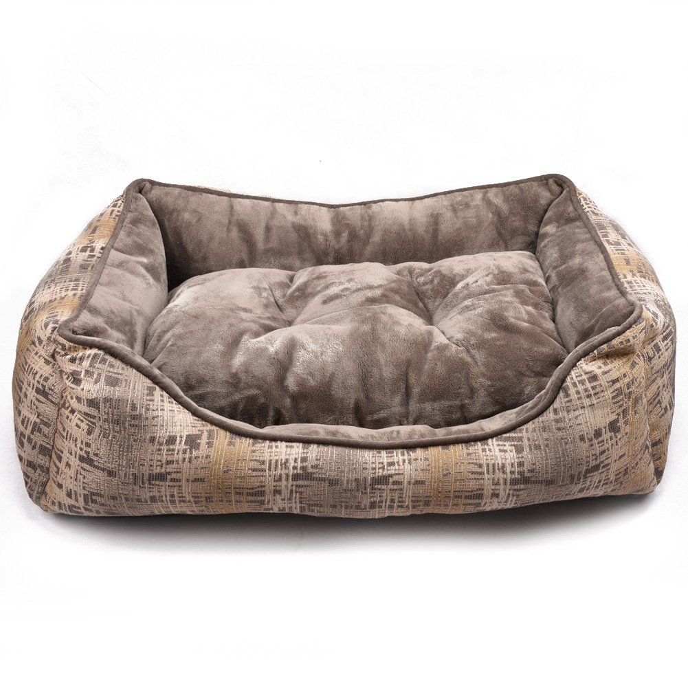 durable service BOPET Pet Bed Snooze Mat for Pets Dogs and Kittens Travel or Home Square Shaped Extra Large Brown