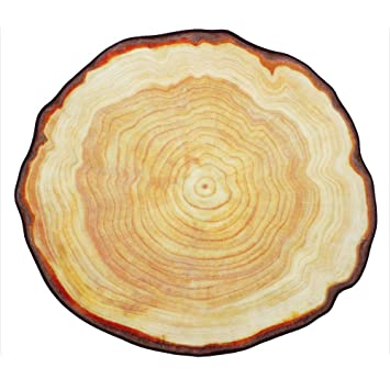 TideTex Modern Simple Round Area Rug Rural Style Tree Rings Design Bedroom  Rug Bedside Rugs Cozy
