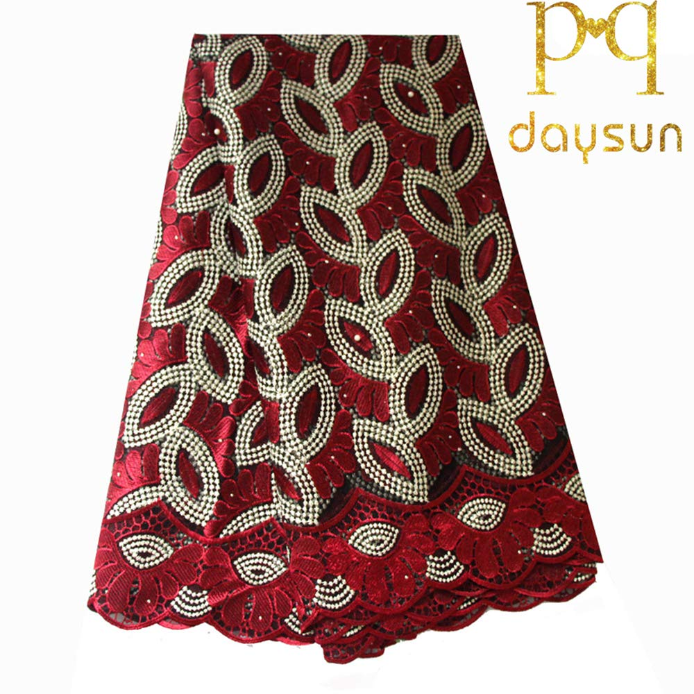 African Lace Fabric 5 Yards 2018 Nigerian French Lace Net Fabric Embroidered Fabric for Wedding Party F50732 (Wine) by pqdaysun (Image #1)