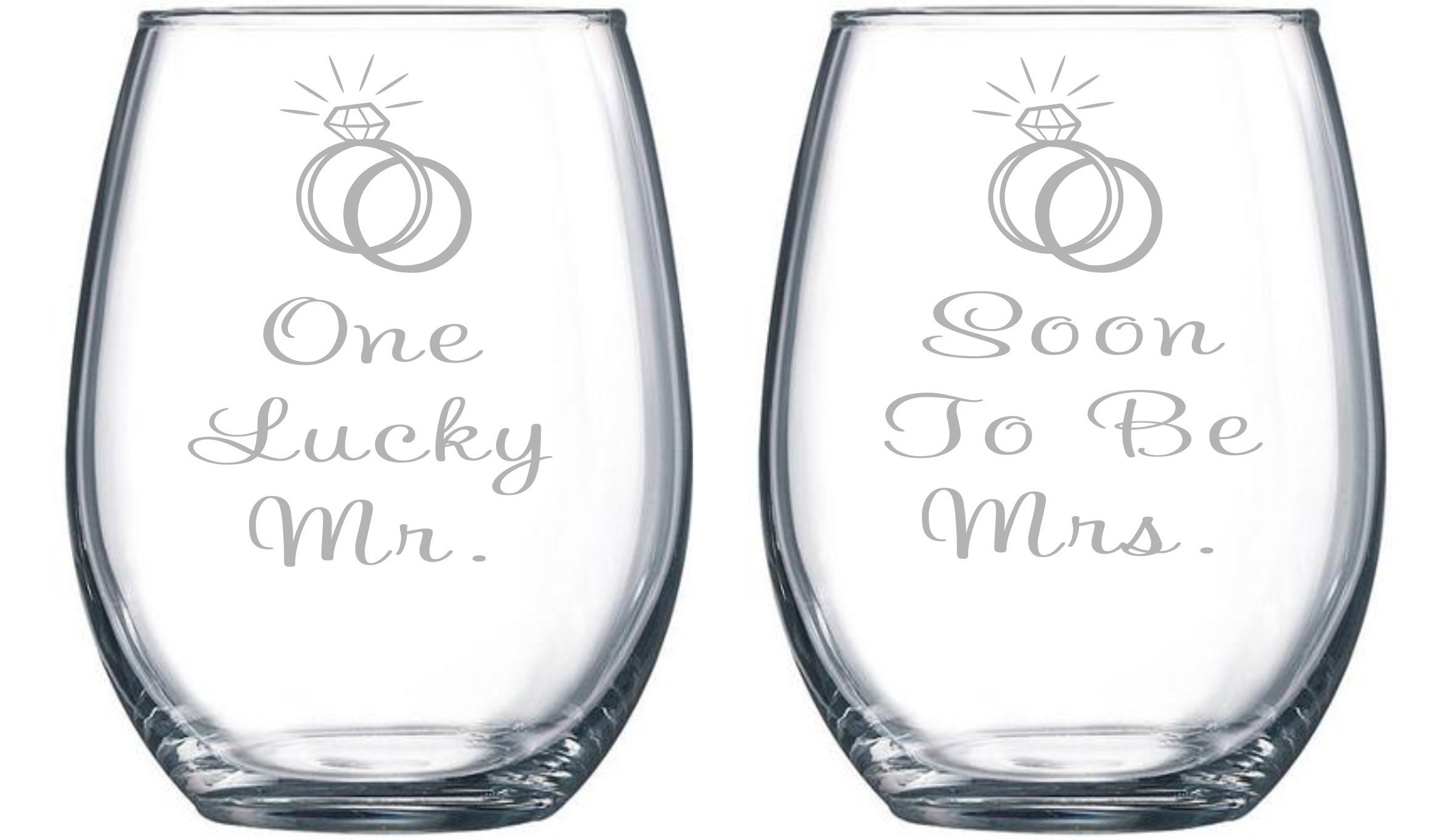 One Lucky Mr. and Soon To Be Mrs. Etched 15 oz. Stemless Wine Glasses Set - Engagment Gift Set by C&M Personal Gifts