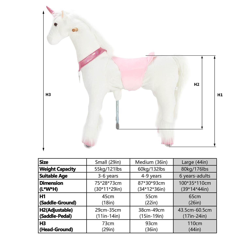 Unicorne avec la corne dor 110 cm pour les enfants de 6 ans /à adulte monter et descendre en rebondissant et bouger UFREE Grand jouet m/écanique /à cheval /à bascule