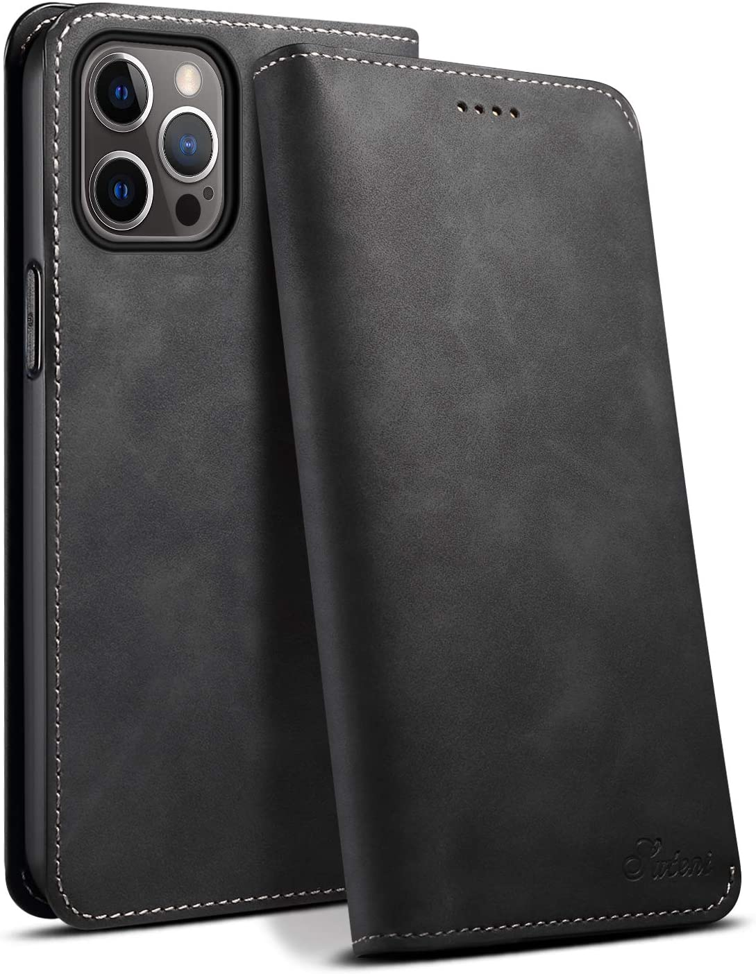 Case for iPhone 12 Pro Max 5G 6.7 2020 PU Leather Card Black Soft Fold Protective Light Folio Fashion Shockproof Fold Cover Shell for Women Men