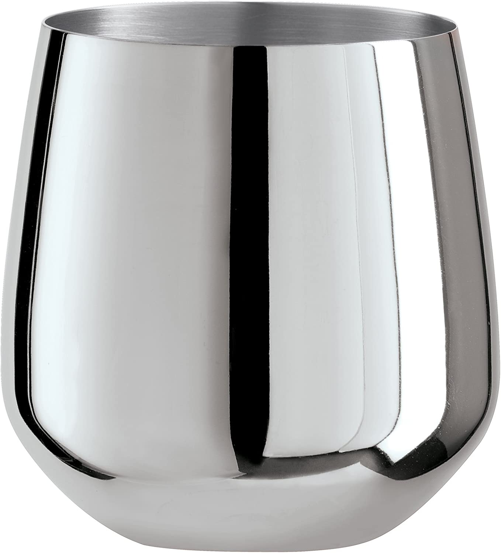 Oggi Mirror Finish Stemless Wine Glasses Drinkware (Set of 2), 17 oz, Stainless Steel
