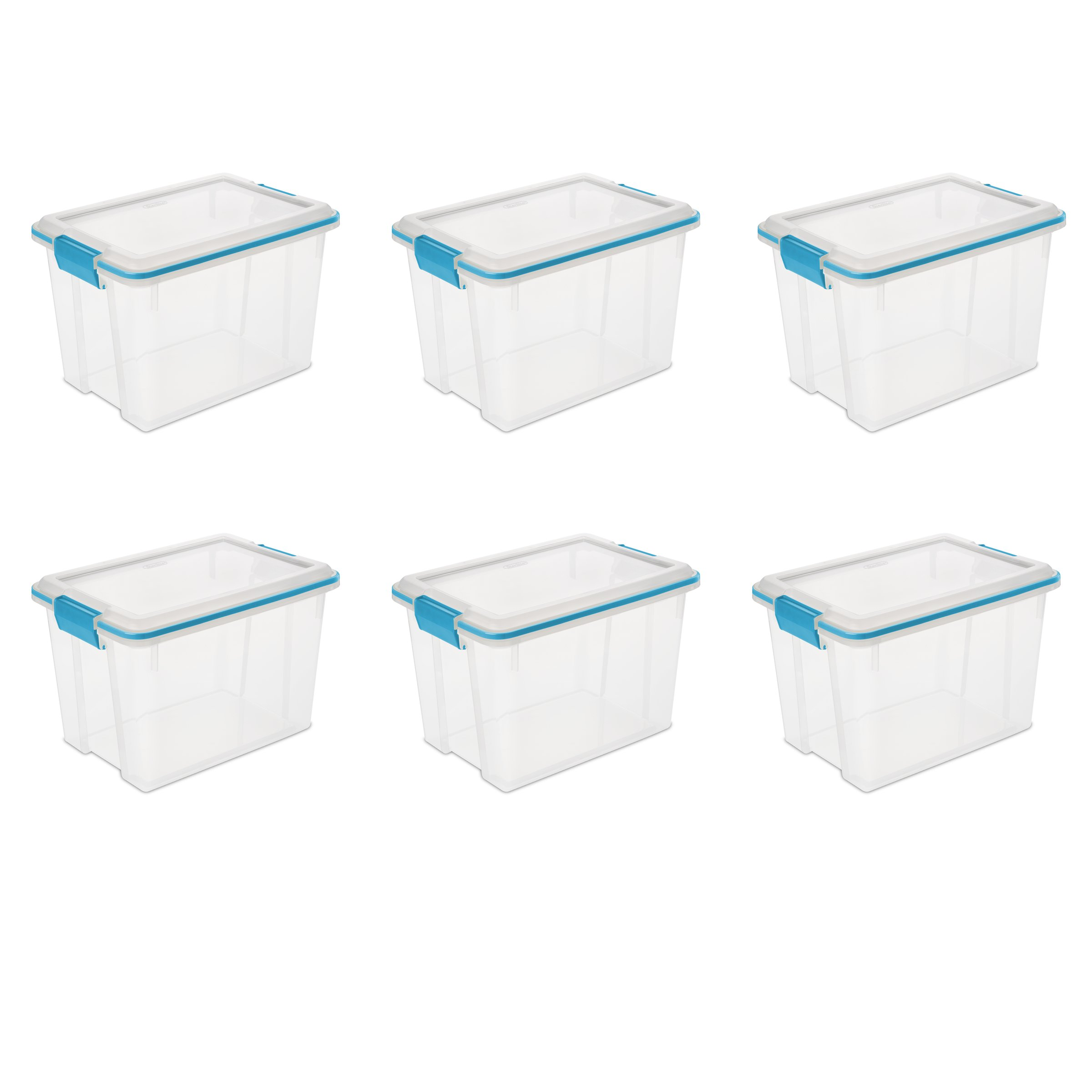 Sterilite 19324306 Gasket Box See-Through Lid and Base with Blue Aquarium Latches and Gasket, 20-Quart, 6-Pack by STERILITE