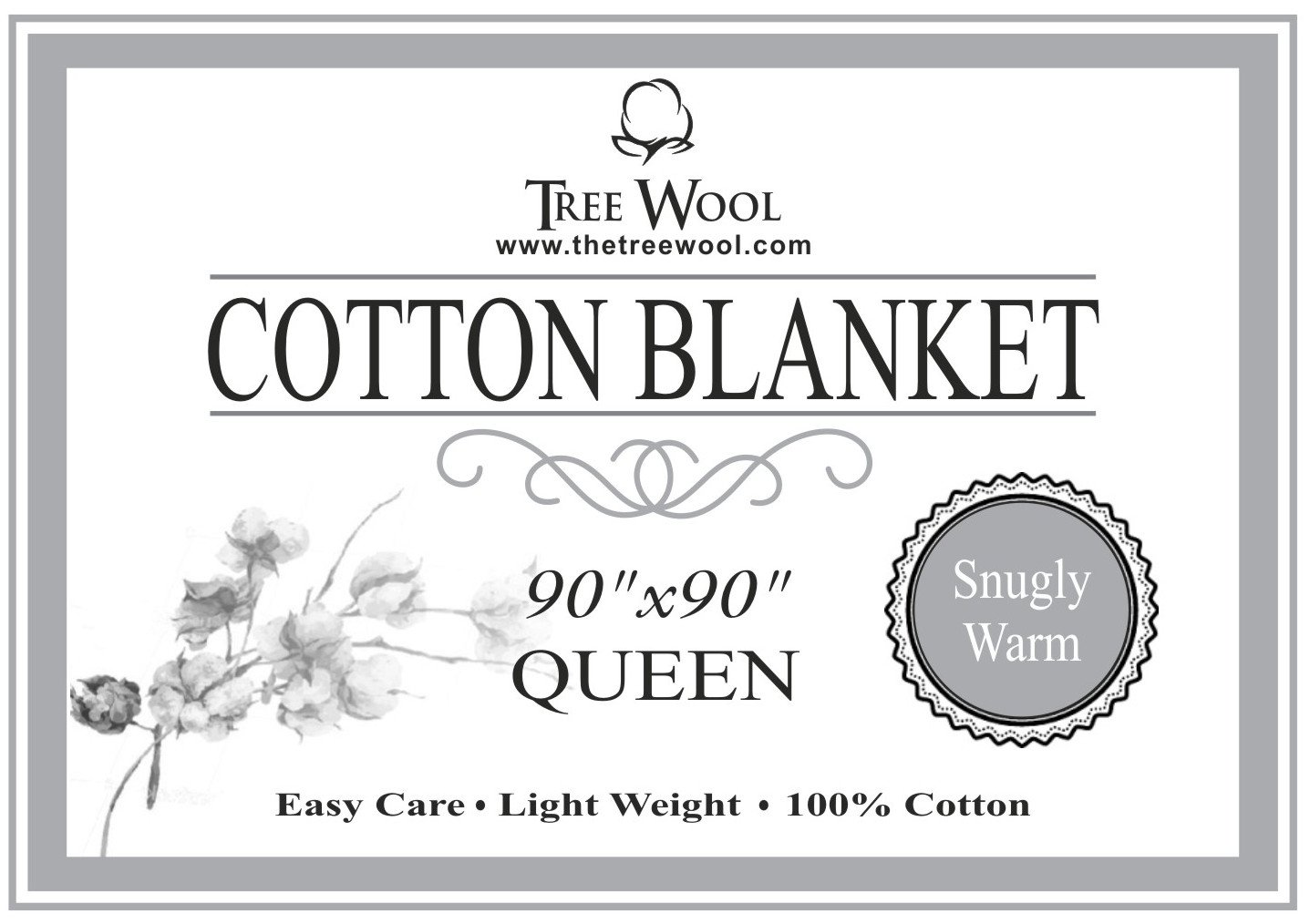 TreeWool, 100% Soft Premium Cotton Thermal Blanket Light Weight Easy Care Soft Comfortable and Warm (Queen Size - 90'' x 90'', Waffle Weave, Beige)