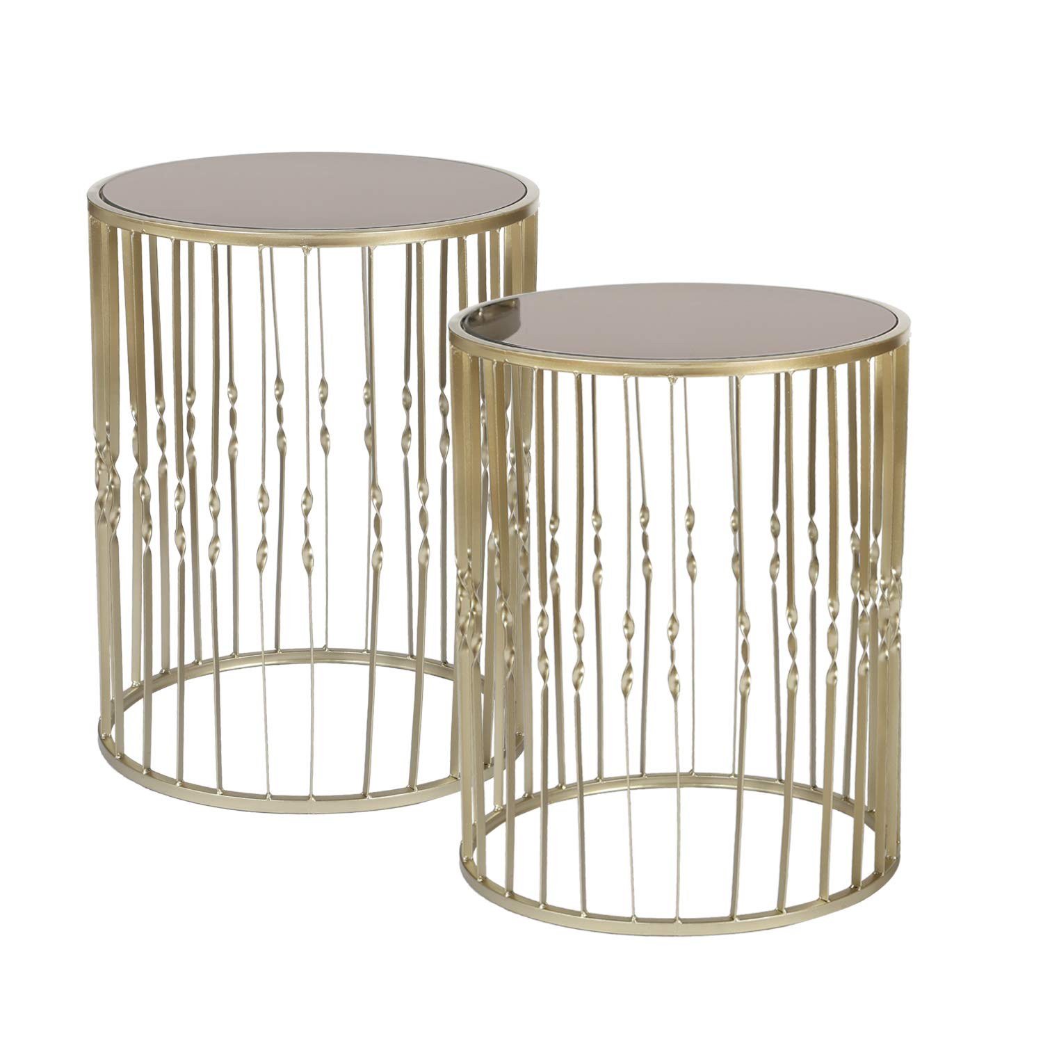 Adeco Decorative Nesting Round Side Accent Plant Stand Chair for Bedroom, Living Room and Patio, Set of 2 End Tables, Champagne Silver,Black Glass by Adeco