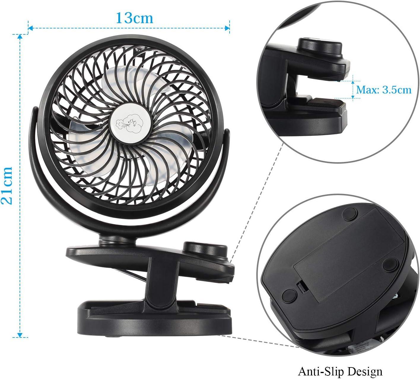 Mini Ventilateur /à Clip avec Rotation /à 360/° pour B/éb/é Sendowtek USB Ventilateur Rechargeable 4400mAH Piles Ventilateur de Bureau Portable pour Poussette//Domicile//Ext/érieur Ventilateur Voiture