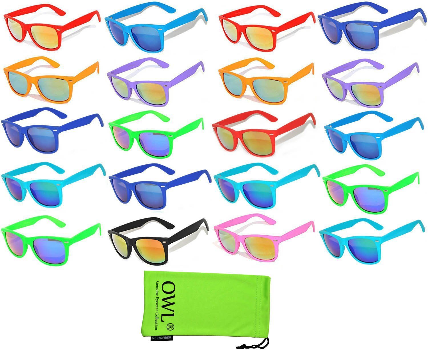 9a4642d49d3 Amazon.com  20 Pieces Per Case Wholesale Lot Glasses Assorted Colored Frame  Bulk Sunglasses Mirror Lens Party Glasses Supplier  Everything Else