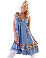Italy Sommer Kleid mit Häkel Blumen Long Tunika Hippie Romantik Bohemian