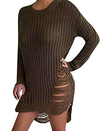Women Sexy Ripped Knitted Loose Side Slit Pullovers Sweater Dress Army  Green S