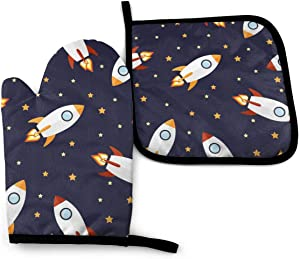 NOT Small Rocket Oven Mitts Pot Holders with The Heat Resistance for Baking Cooking BBQ