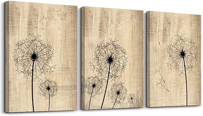 Amazon Com Dandelion Artwork On Vintage Wood Board Background Wall Art For Living Room Canvas Prints Artwork Bathroom Wall Decor Watercolor Painting 3 Pieces Framed Bedroom Wall Decorations Office Home Decor Posters