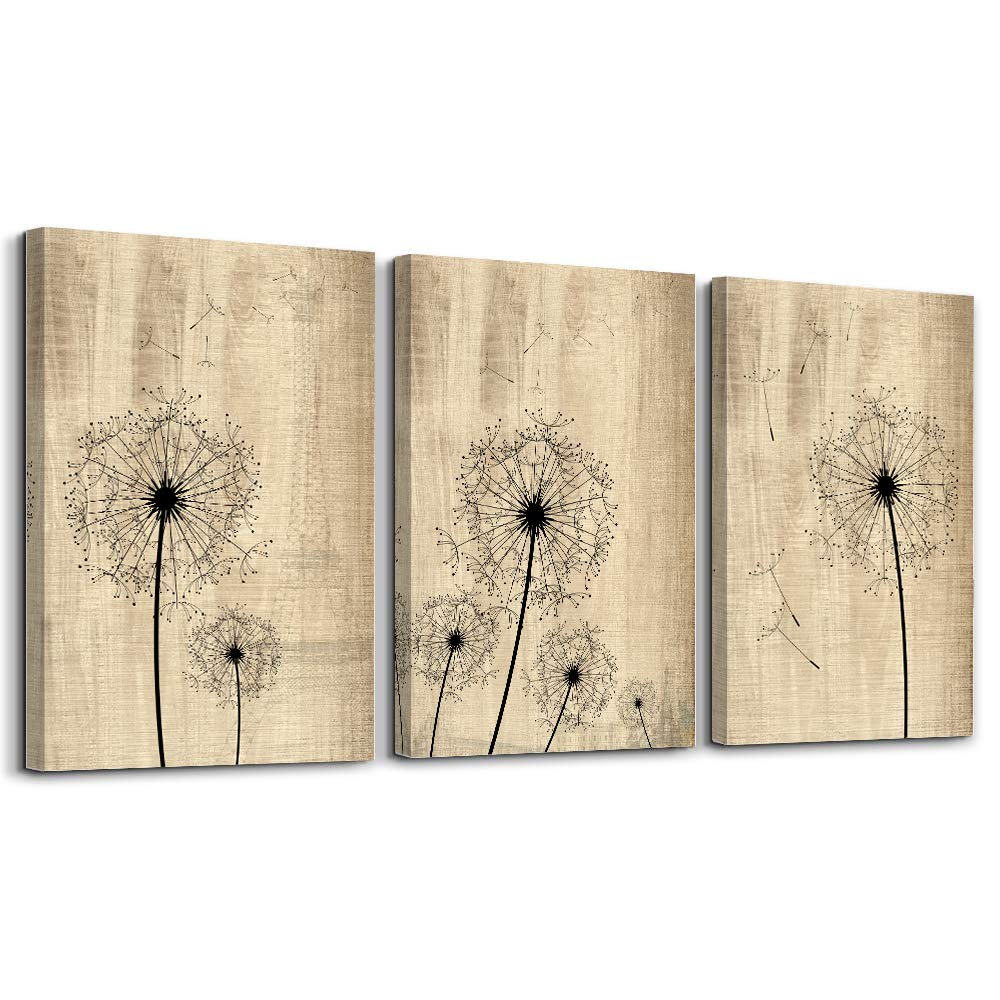 Dandelion Artwork on Vintage Wood Board Background Wall Art for Living Room Canvas Prints Artwork Bathroom Wall Decor Watercolor Painting 3 Pieces Framed Bedroom Wall Decorations Office Home Decor