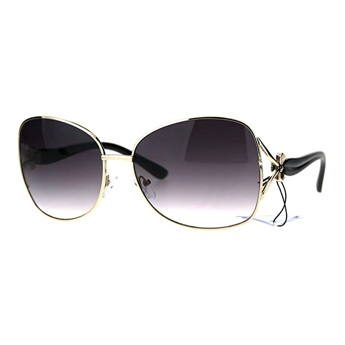 7b4c8480e10 Womens Oversize Butterfly Designer Fashion Bow Jewel Trim Sunglasses Gold  Smoke Black