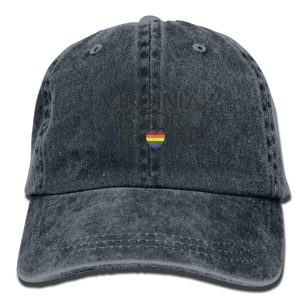 ha-fullshop Virginia is for Lovers Gay Flag Plain Adjustable Cowboy Cap Denim Hat for Women and Men