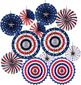 4th/Fourth of July Patriotic Ddecorations -Red White Blue Hanging Paper Fans for American Independence Day Party Decor Supplies(Set of 12)