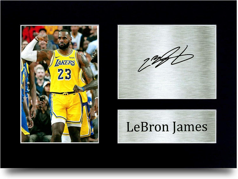 HWC Trading Lebron James Los Angles Lakers - Póster con autógrafo impreso para fanáticos de los coleccionistas de baloncesto, tamaño A4