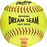 Rawlings C12RYLAH Official ASA Dream Seam Fastpitch Softballs, Yellow, Size 12 in.