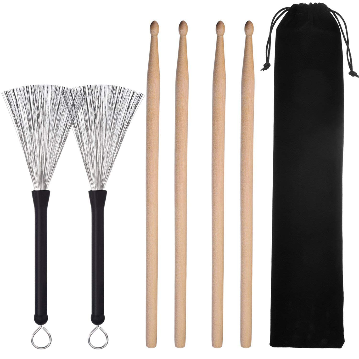 ShiningLove 2 Pair 5A Maple Wood Drum Sticks Classic Drumsticks Sets + 1 Pair Drum Wire Retractable Drum Sticks Brush + 1 Storage Bag
