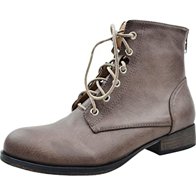 Cambridge Select Women's Lace-Up Low Stacked Heel Combat Bootie: Shoes