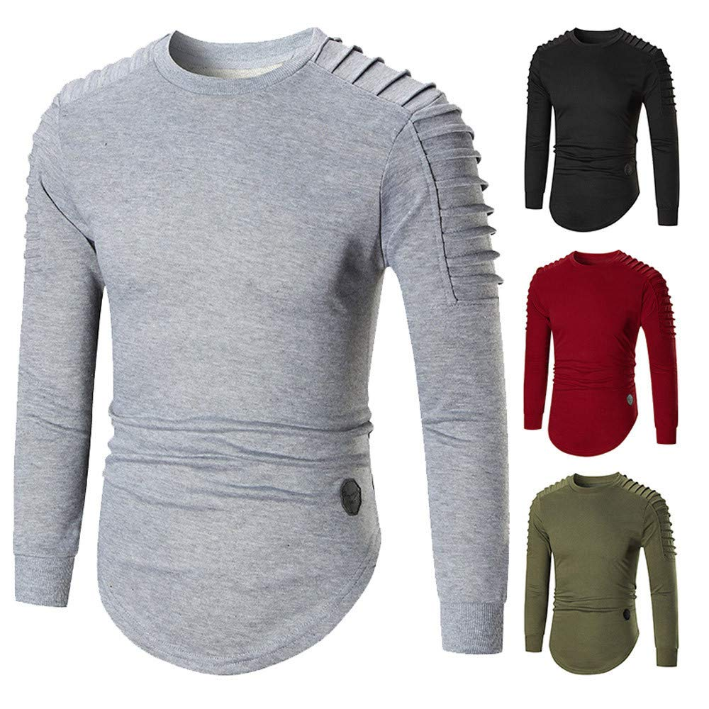 Casual Pullover Hoodie,MILIMIEYIK Blousess Mens Kilt Shirts Shirt Long Sleeve lace-up Tshirt Mens Outerwear top Blouses Gray