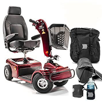 Shoprider Sunrunner 4-Wheel Electric Mobility Scooter 888B-4 RED +  Challenger Accessories - Bundle