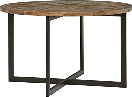 Amazon Brand Stone Beam Industrial Mango Wood Round Dining Table, 48 W, Gunmetal Finish