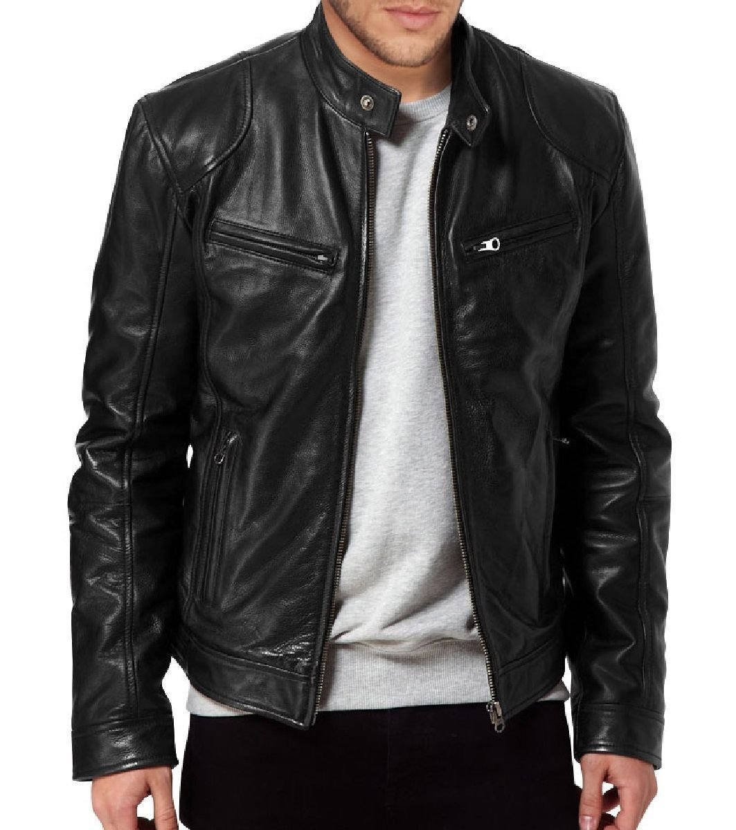 FS Lambskin Leather Men's Bomber Biker Jacket Large Black by Fashion Store