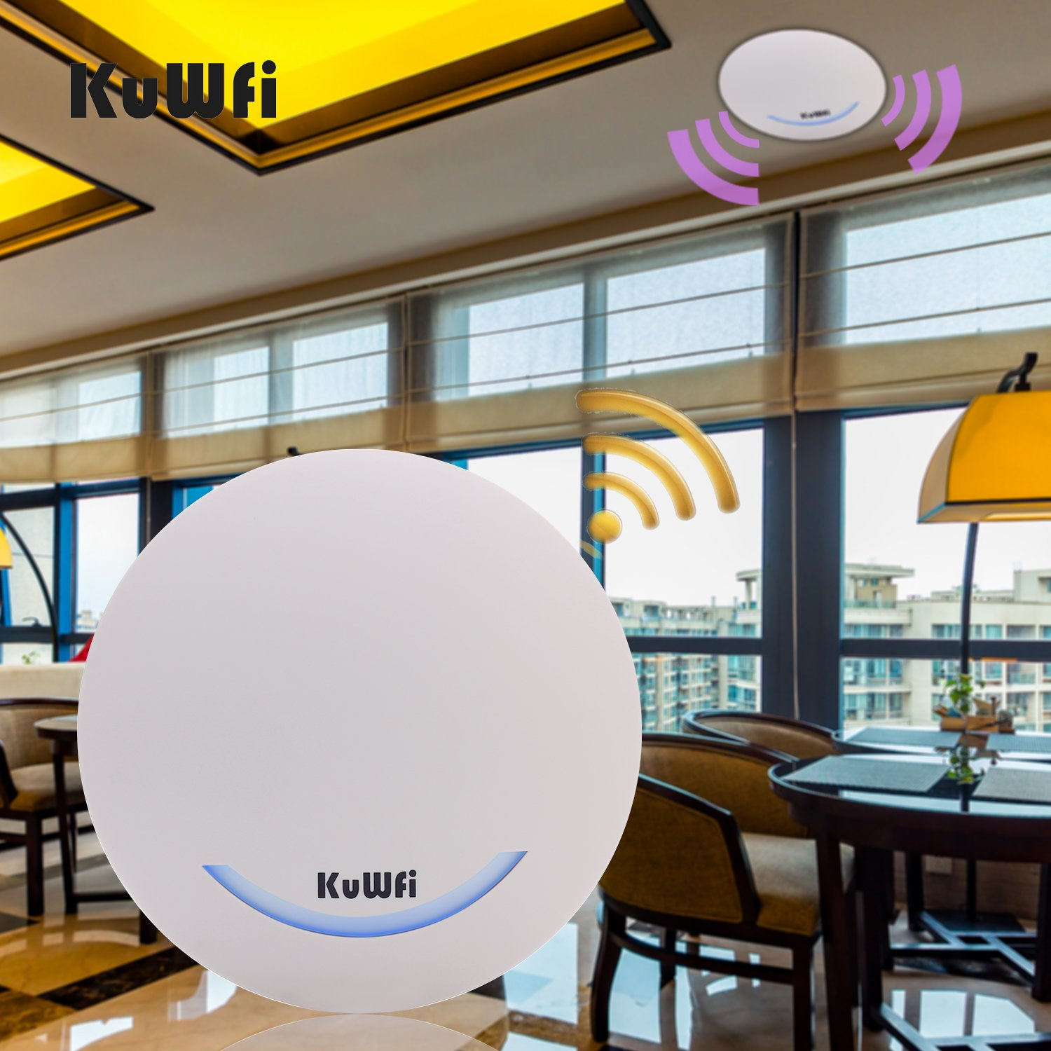 KuWFi 600Mbps Wireless Router Ceiling Mount Dual Band 802.11AC Indoor ceiling mounted wireless router Wifi Repeater Wifi Extender With 24V POE Power Supply by KuWFi