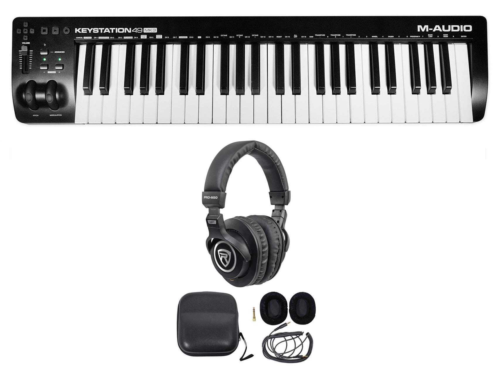 M-Audio Keystation 49 III 49-Key USB MIDI Keyboard Controller MK3 + Headphones