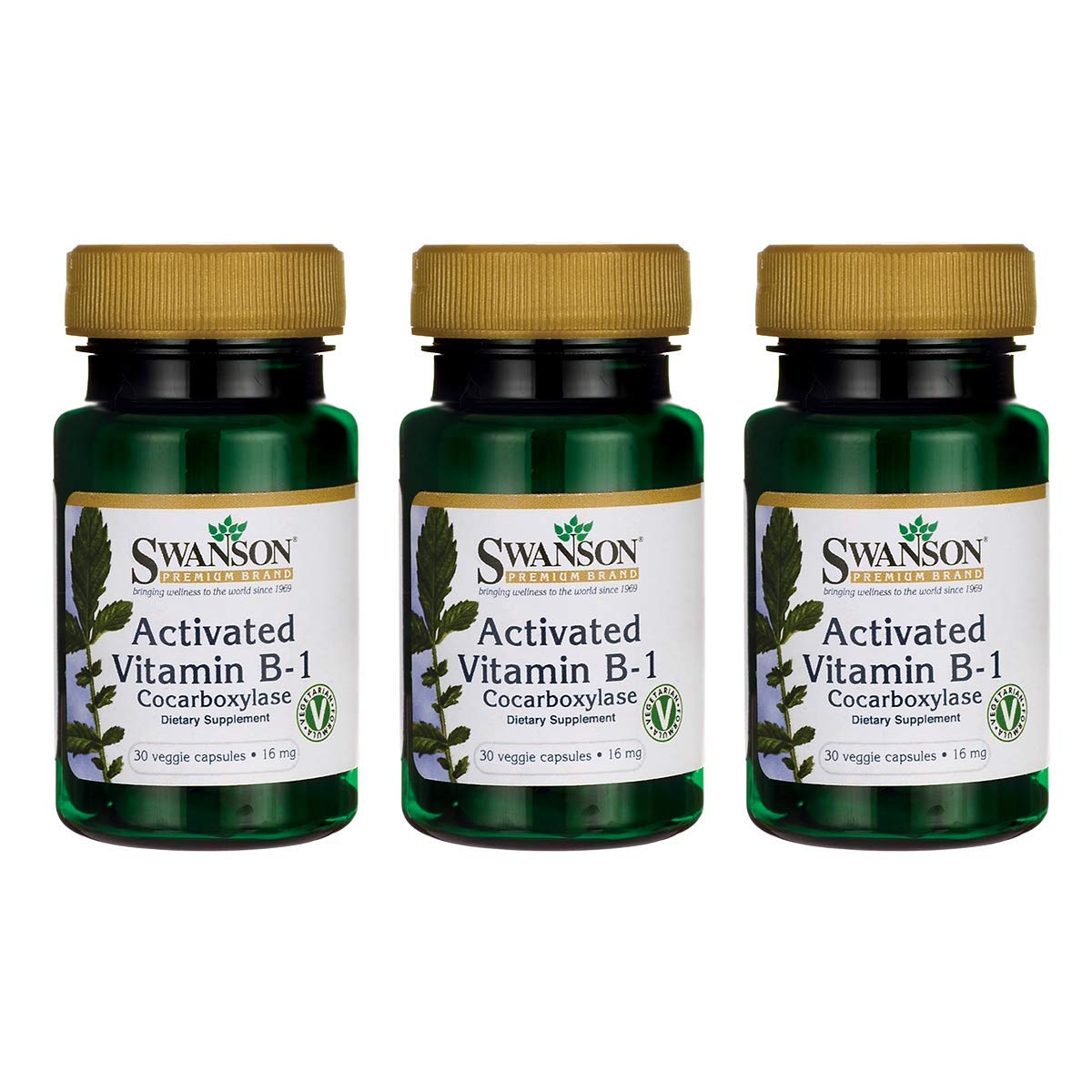 Swanson Activated Vitamin B-1 16 Milligrams 30 Veg Capsules (3 Pack) by Swanson