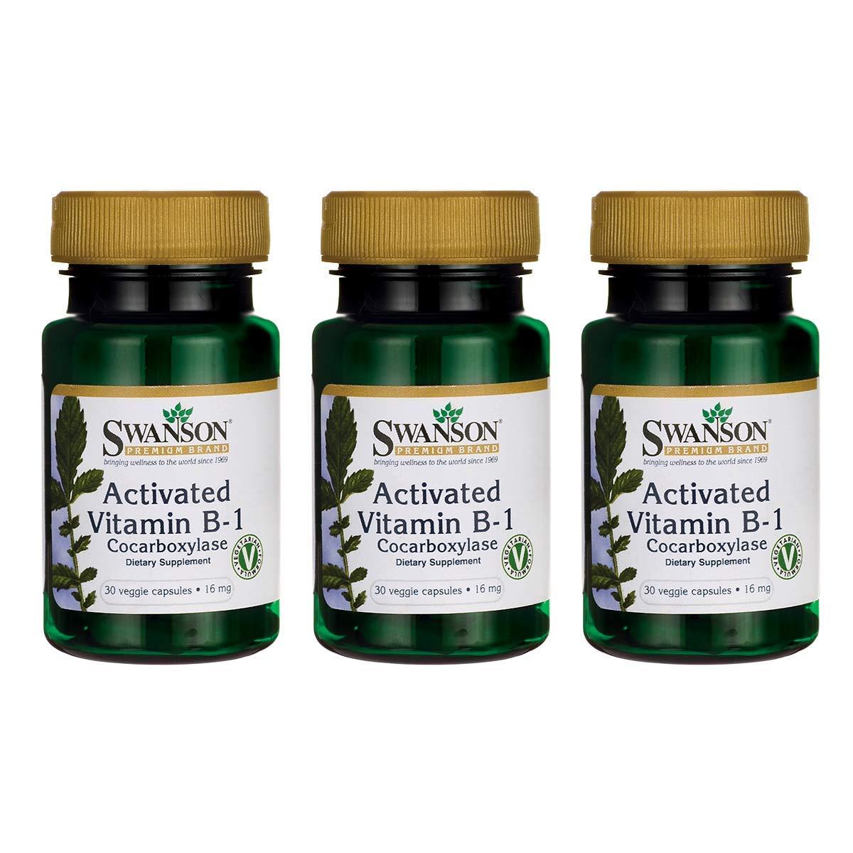 Swanson Activated Vitamin B-1 16 Milligrams 30 Veg Capsules (3 Pack)
